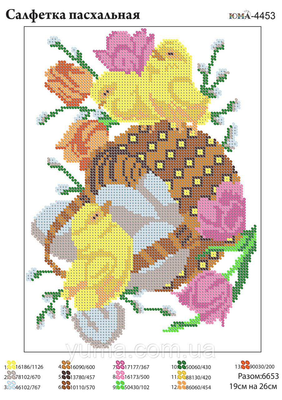 Схема для вышивки бисером пасхальная салфетка
