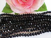 Бусины хрустальные 6х4 мм, 48-50 шт, цвет черный