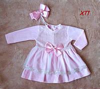 Очень нежное мягкое велюровое платье для девочки на крещение, на праздник, фото 1