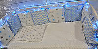 Бортики,захист в ліжечко,бортики-подушки+простинька на резинці+ покривалко із плюшу 100*80см 1600