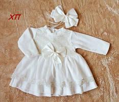 Очень нежное мягкое велюровое платье для девочки на крещение, на праздник 9 мес. !!! МАЛОМЕРИТ
