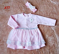 Очень нежное мягкое велюровое платье для девочки на крещение, на праздник 6 мес. !!! МАЛОМЕРИТ