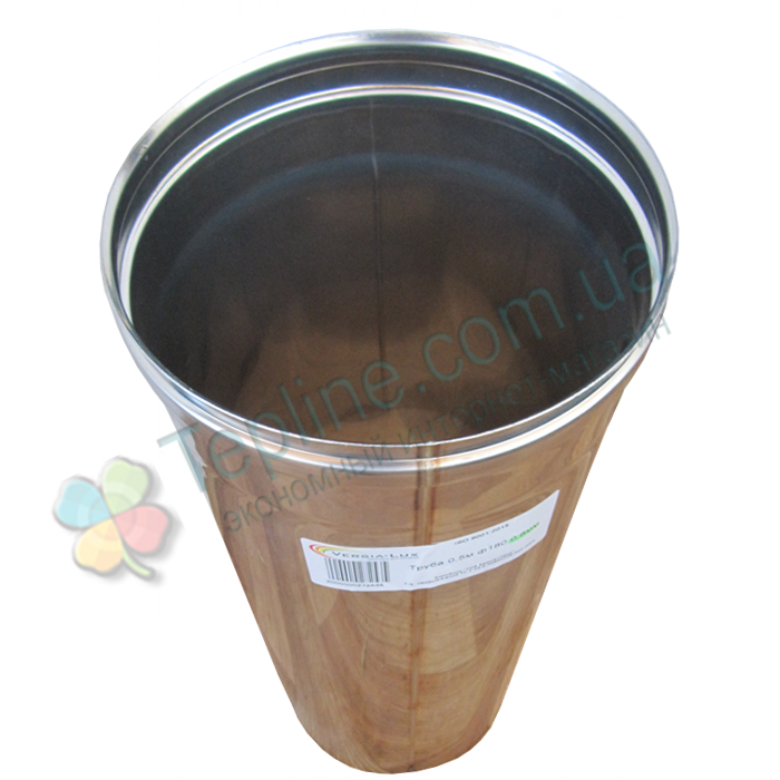 Труба для димоходу d 120 мм; 1 мм; 50 см із нержавіючої сталі AISI 304 - «Версія-Люкс»