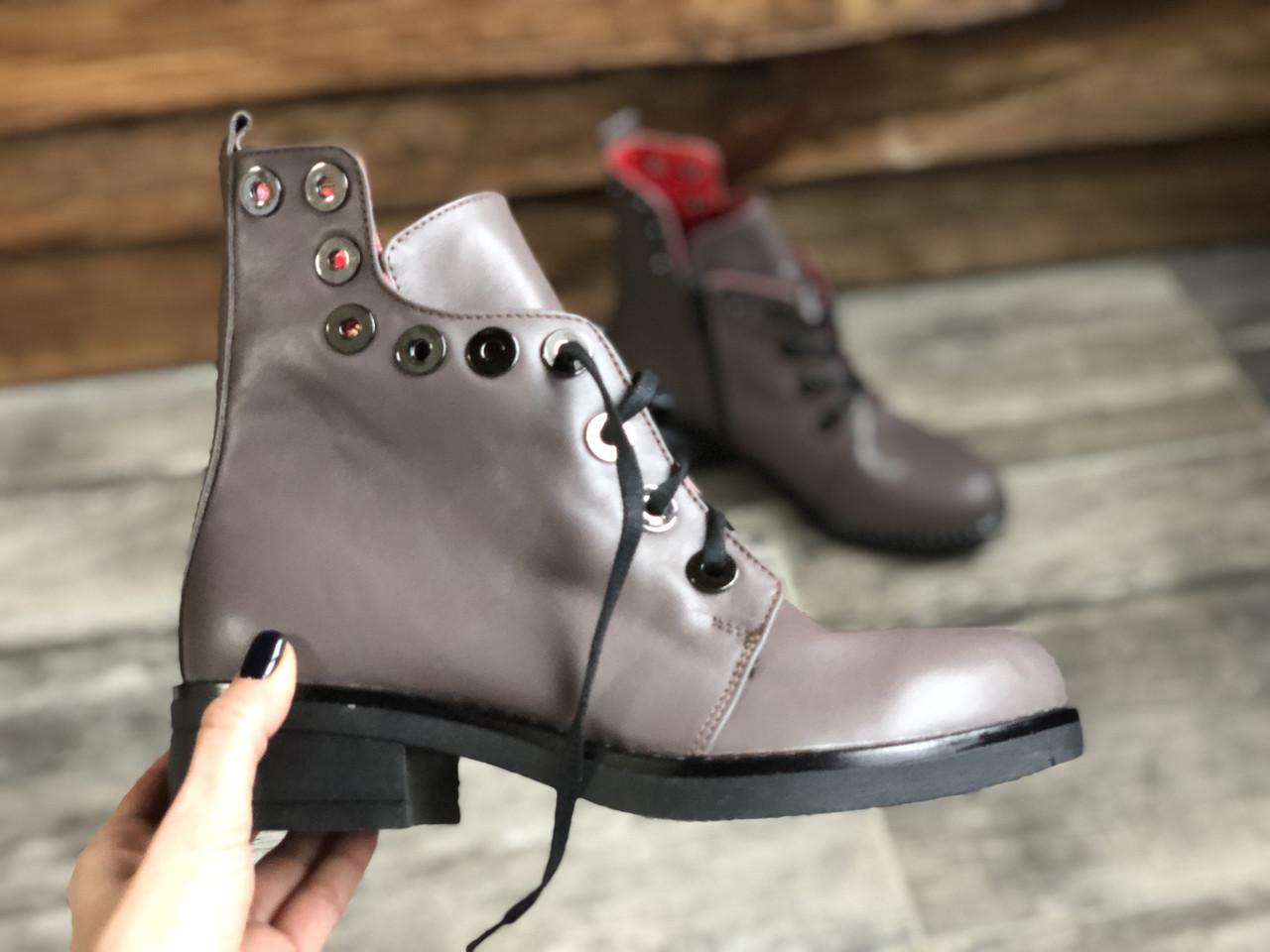 Ботинки №466-5 визон кожа (брук гвозди)