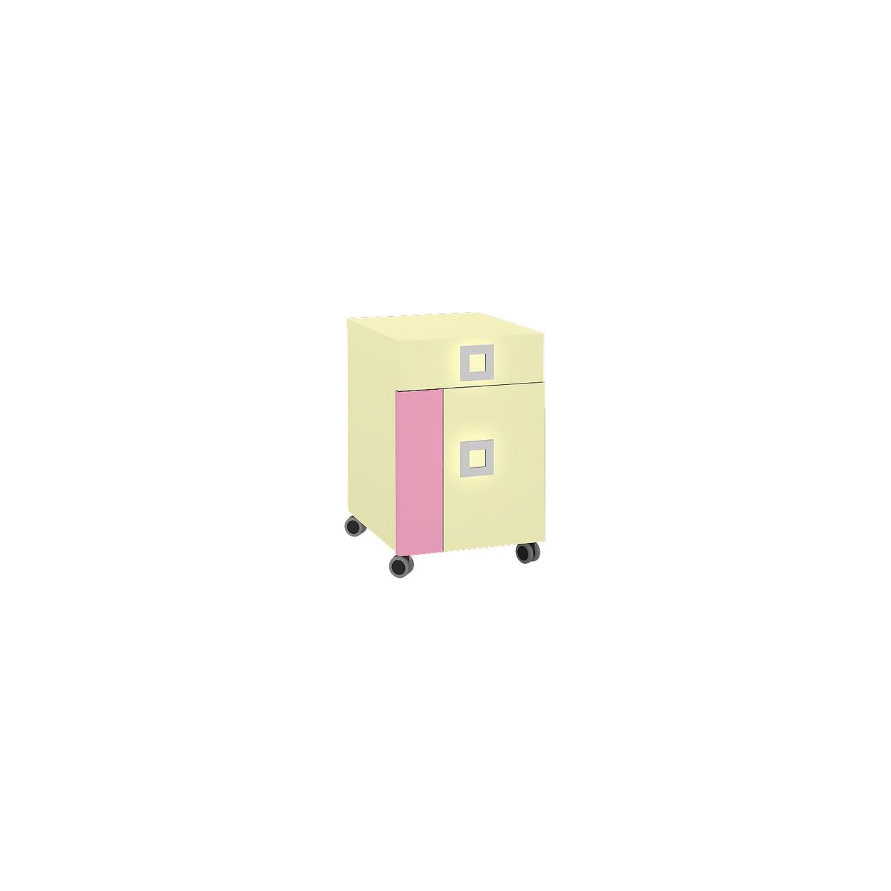 Тумба в дитячу кімнату з ДСП/МДФ Labirynt-20 ваніль+розовий Blonski