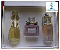 Парфюмерный набор Christian Dior Кристиан Диор 3 женских топ аромата