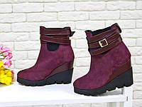 Ботинки женские из натуральной замши , цвета марсала.