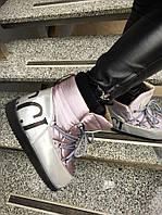Женские луноходы MoonBoot Guc! кожаные серебренные, размер 36-40