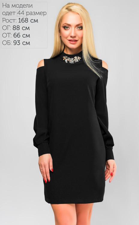 eed1cb1801f706f Черное классическое платье с украшением на горловине и вырезами на рукавах
