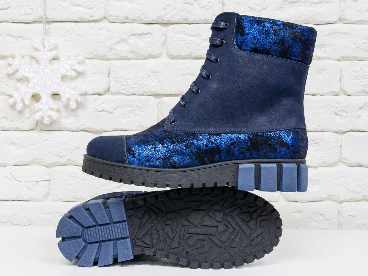 5dfdde8cc62d Женские Ботинки на шнуровке из натуральной матовой кожи синего цвета:  продажа, ...