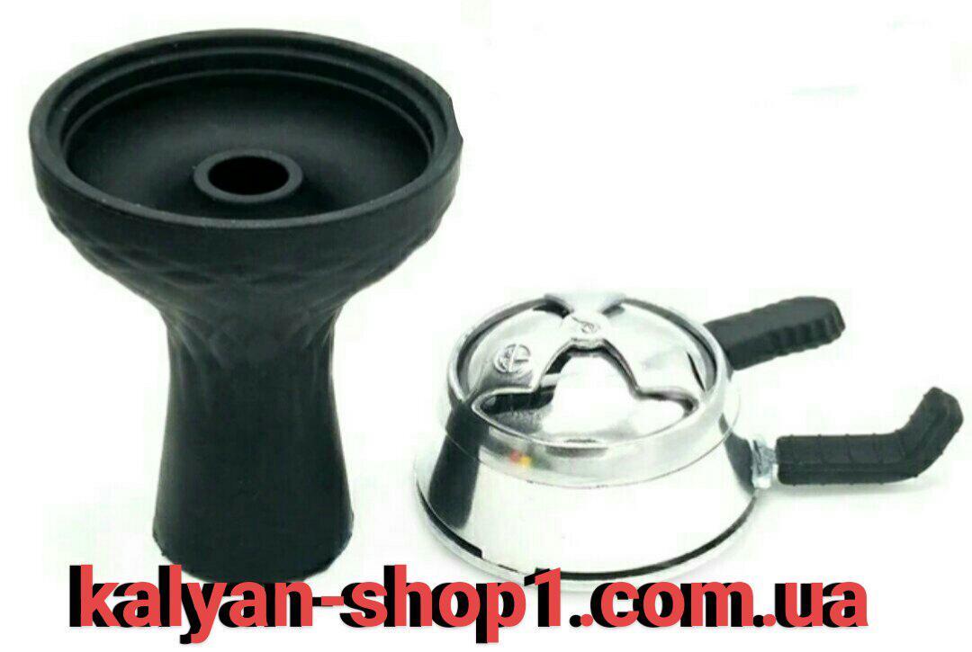 Силиконовая чаша для кальяна фанел черная + Kaloud Lotus 2 ручки  AMY Deluxe