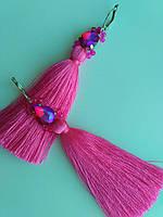 Серьги кисти длинные розовые фуксия с крупными стразами