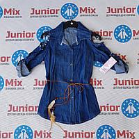 Джинсовая детская модная рубашка для девочек оптом  MODA