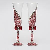 Свадебные бокалы с росписью бордовые