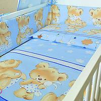 Защита (бампер) в детскую кроватку из двух частей Мишка с подушкой голубой