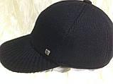 Бейсболка синяя из драпа с вязанным козырьком  57 58, фото 2