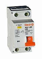 Дифференциальный автоматический выключатель АД1-63, 1P+N, 6А, 30мА, 4,5kA, Electro