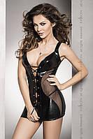 Эротическая сорочка-платье Passion DONATA CHEMISE черная, Черный, L\XL