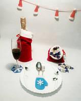 Варежка новогодняя для столовых приборов голубой