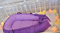 Кокон-позиціонер для новонароджених+ортопедична подушечка в фіолетових тонах 1338