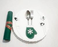 Варежка новогодняя для столовых приборов зеленый