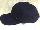 Бейсболка синяя из драпа с вязанным козырьком  57 58, фото 8