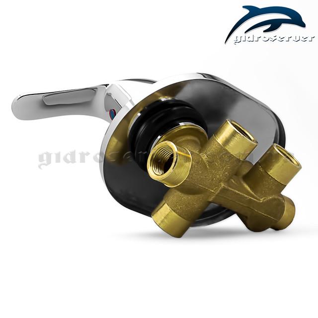 Смеситель скрытого монтажа SV-03 для душевых систем, гарнитуров, программ встраиваемых в стену ванной комнаты.