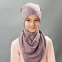 Комплект шапка и хомут весна для девочки Дениз розовая сирень