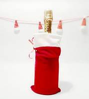 Новогодний мешок для бутылки красный