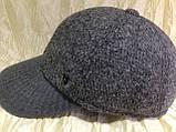 Бейсболка серая из драпа с вязанным чёрным козырьком  57-58, фото 7