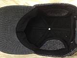 Бейсболка серая из драпа с вязанным чёрным козырьком  57-58, фото 10
