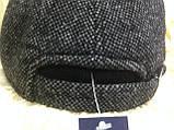 Бейсболка серая из драпа с вязанным чёрным козырьком  57-58, фото 6