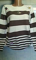 Женский свитер в полоску и аппликацией 52/54 размера