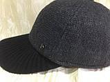 Бейсболка серая из драпа с вязанным чёрным козырьком  57-58, фото 3