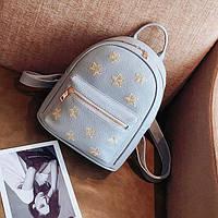 Рюкзак женский городской из эко кожи со звездами для девушек, девочек (серый)