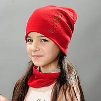 Комплект шапка и хомут весна для девочки Ирэн красный