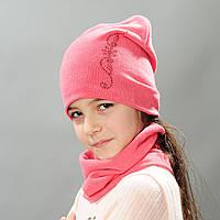 Комплект шапка и хомут весна для девочки Ирэн розовый