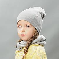 Комплект шапка и хомут весна для девочки Ирэн серый