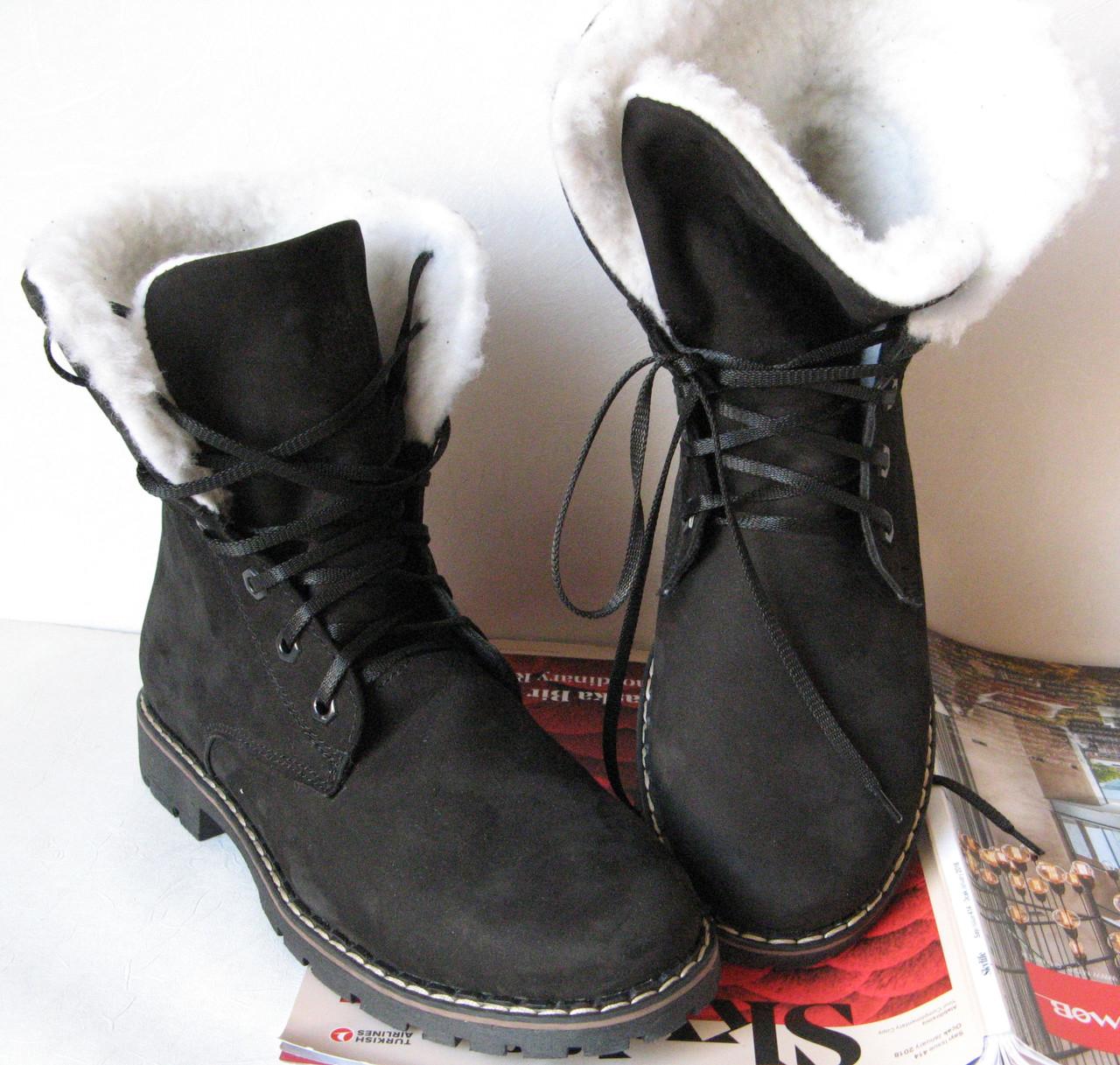 Супер зимние женские сапоги ботинки в стиле Timberland теплые черные нубук