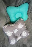 Ортопедическая подушка двустороняя Совушки зелёная, тм Лари