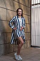 Рубашка - туника лляная в бело - синюю полоску с удлиненной спинкой, дизайнерская модная одежда, S-XL