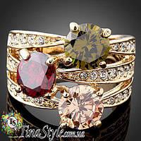 Кольцо женское с камнями разноцветное кубическое цирконий Позолота 18К Обручальное цирконий Шарм!