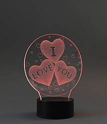 """3D LED светильник """"I Love You 3"""" (лампа)"""