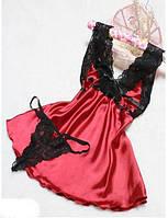 Женский атласный пеньюар набор комбинация с кружевом и трусики красный с черным 42 р.