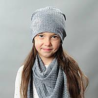 Комплект шапка и хомут весна для девочки Дениз серый
