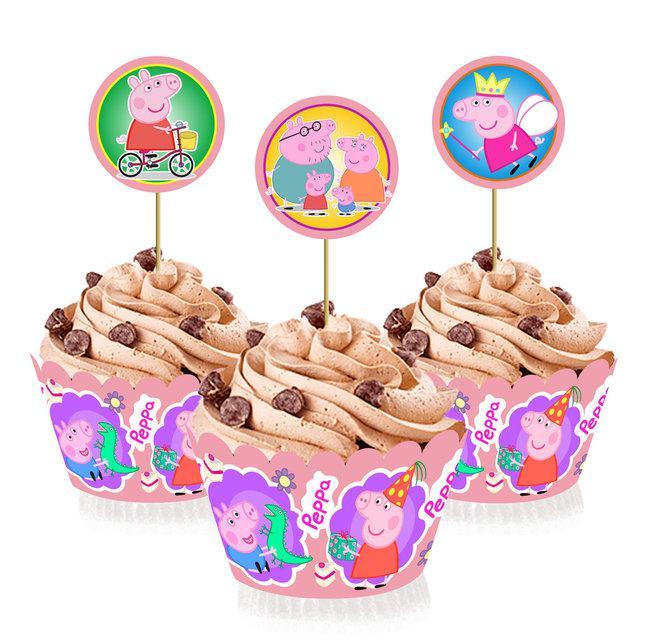 """Топперы для капкейков, десертов и кексов """"Свинка Пеппа"""", 6 шт./уп."""