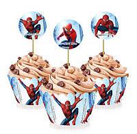 """Топперы для капкейков, десертов и кексов """"Человек паук"""", 6 шт./уп."""