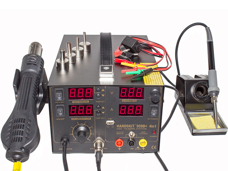 Handskit 909D паяльная станция 3в1 с компрессорным термофеном + паяльник + тестер + USB-подключение, фото 1