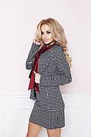 Классический костюм пиджак и юбка с принтом арт 3815-404
