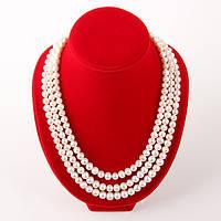 """Колье """"Жаклин"""" - белый натуральный жемчуг, серебро, 49-53 см."""